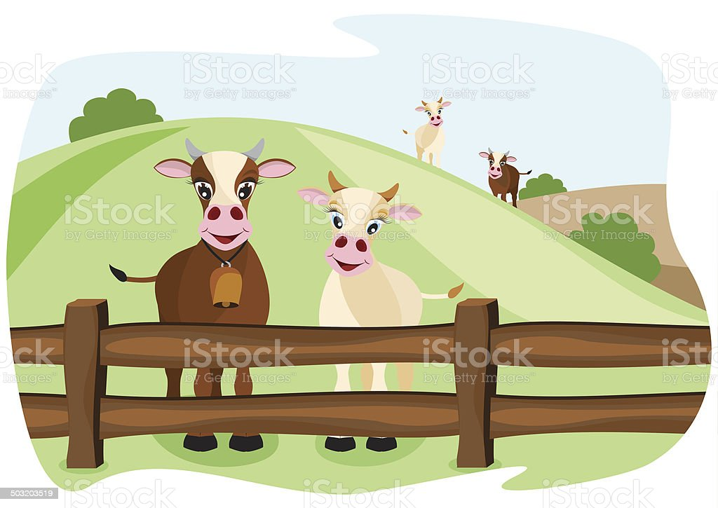 two cute cows on pasture vector art illustration