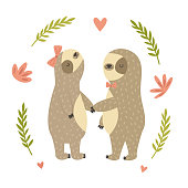 Two cute dancing sloth in love. Animal character design. Vintage card.