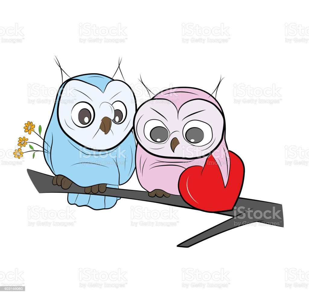 Two Cute Drawn Owls Sits On A Branch Happy Valentines Day Vector