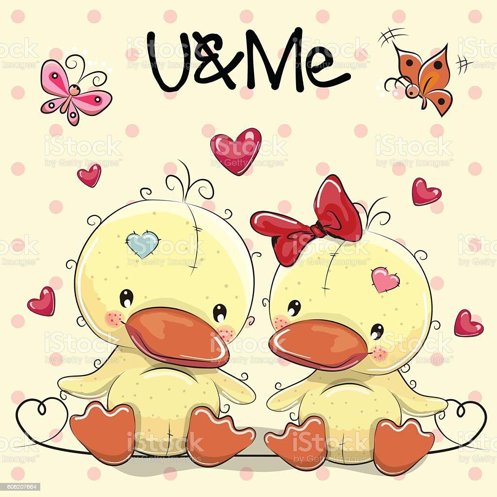 Two Cute Ducks vector art illustration