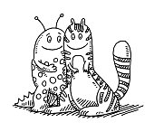 Hand-drawn vector drawing of two Two Cute Fantasy Creatures. Black-and-White sketch on a transparent background (.eps-file). Included files are EPS (v10) and Hi-Res JPG.