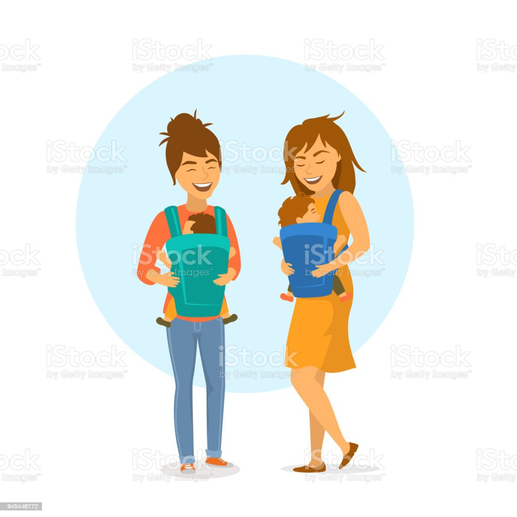 two cute friends women mothers with baby slings wraps and kids isolated vector illustration scene vector art illustration
