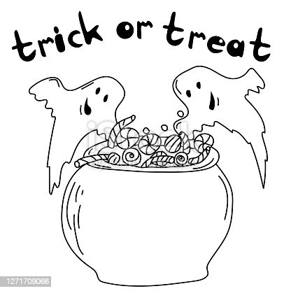 istock Two cute ghosts and sweets in a cauldron, Halloween coloring page and inscription trick or treat, 1271709066