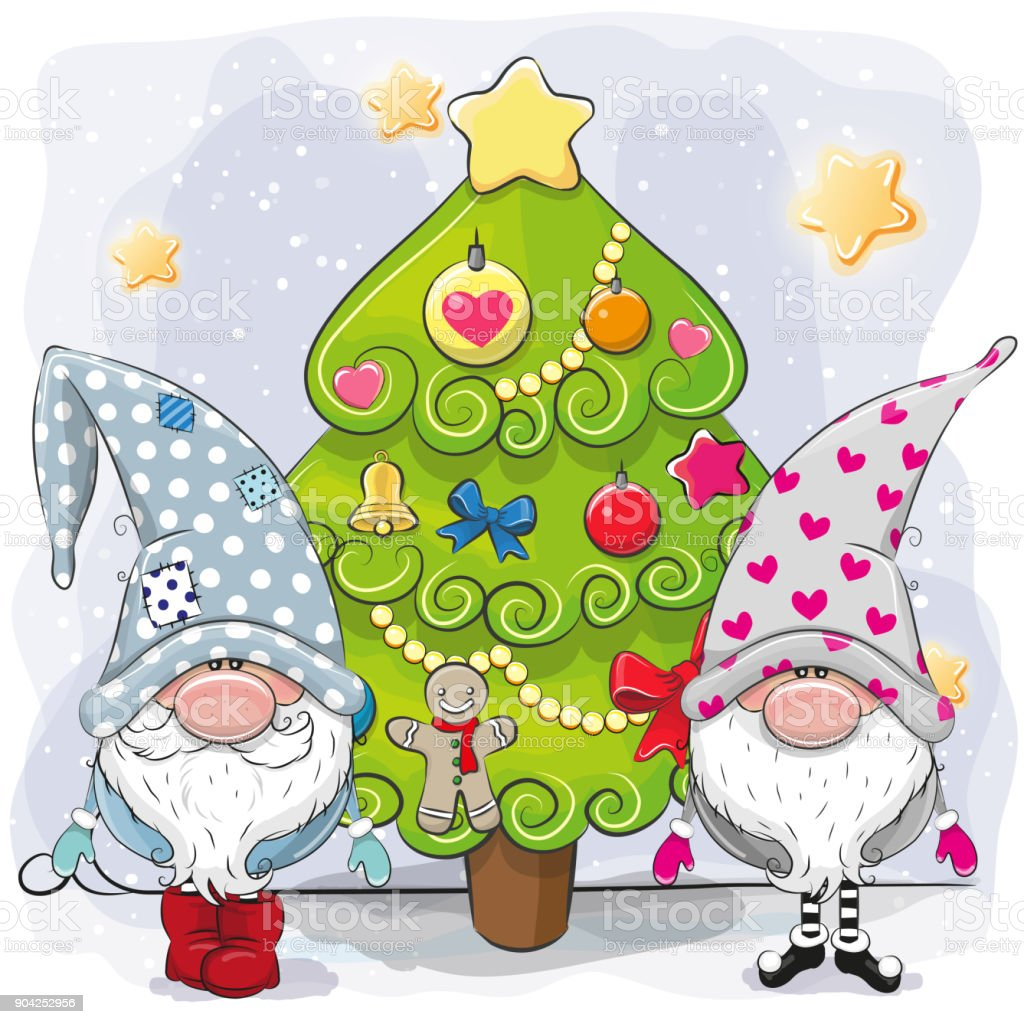 Two cute gnomes and Christmas tree vector art illustration