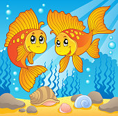 Two cute goldfishes