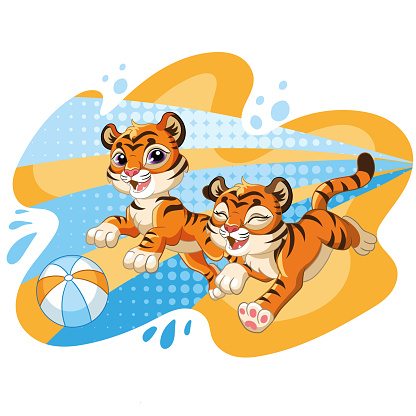 Two cute jumping dynamic tiger cartoon character vector