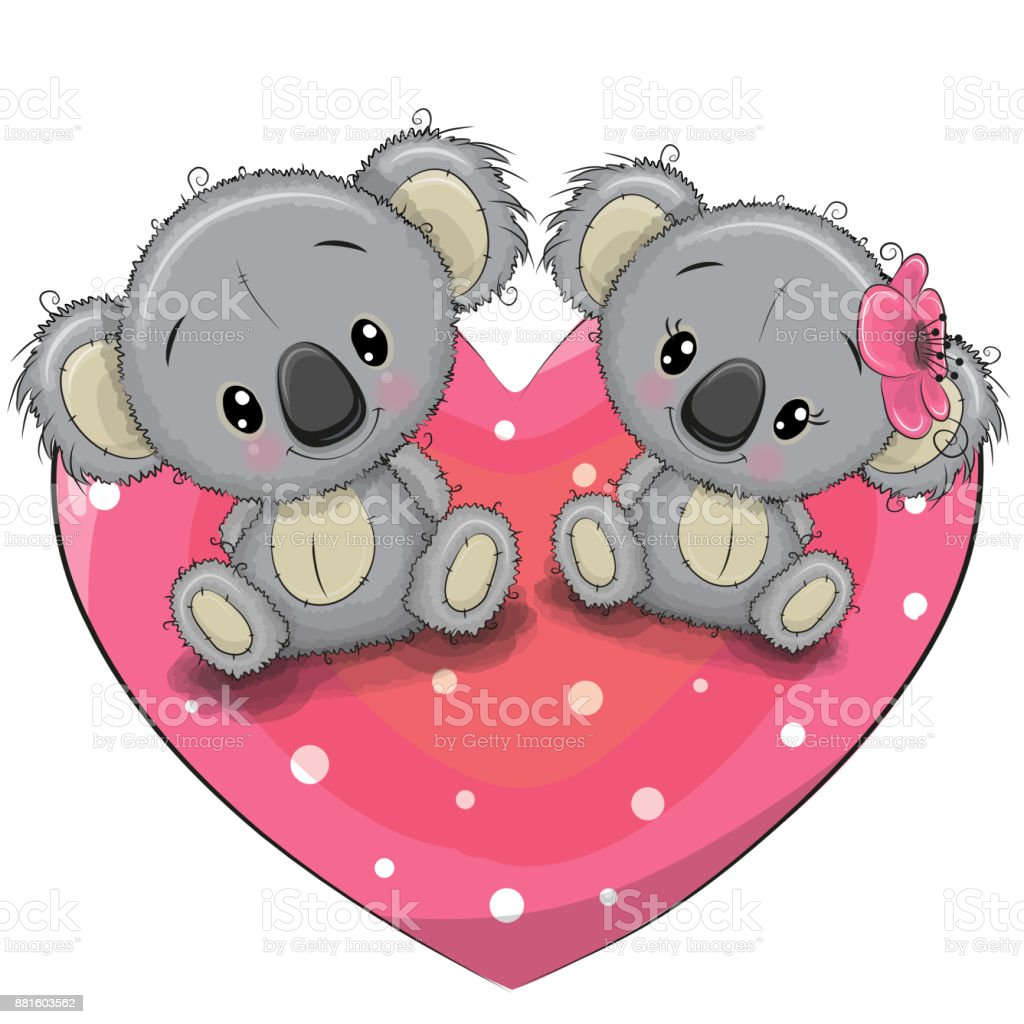 Two Cute Koalas on a heart vector art illustration