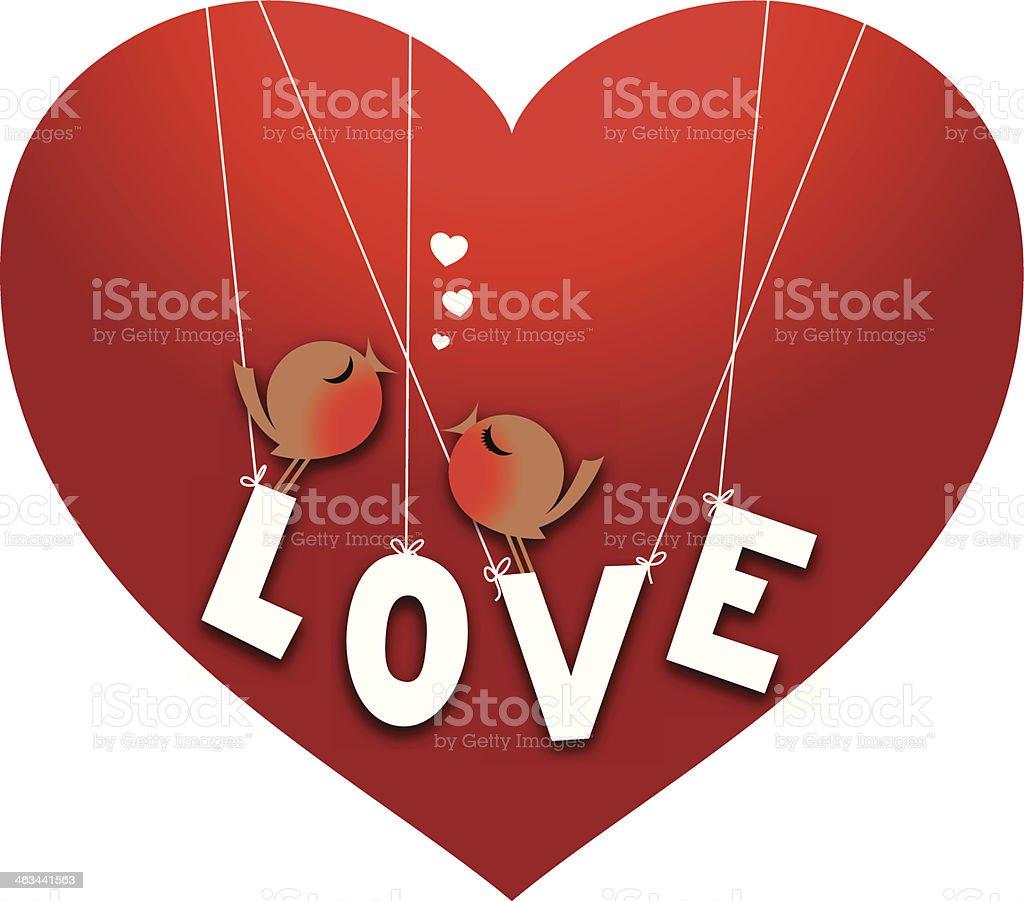 Très Deux Jolie Amour Oiseaux Perché Sur Le Mot Amour Stock Vecteur  ZH49
