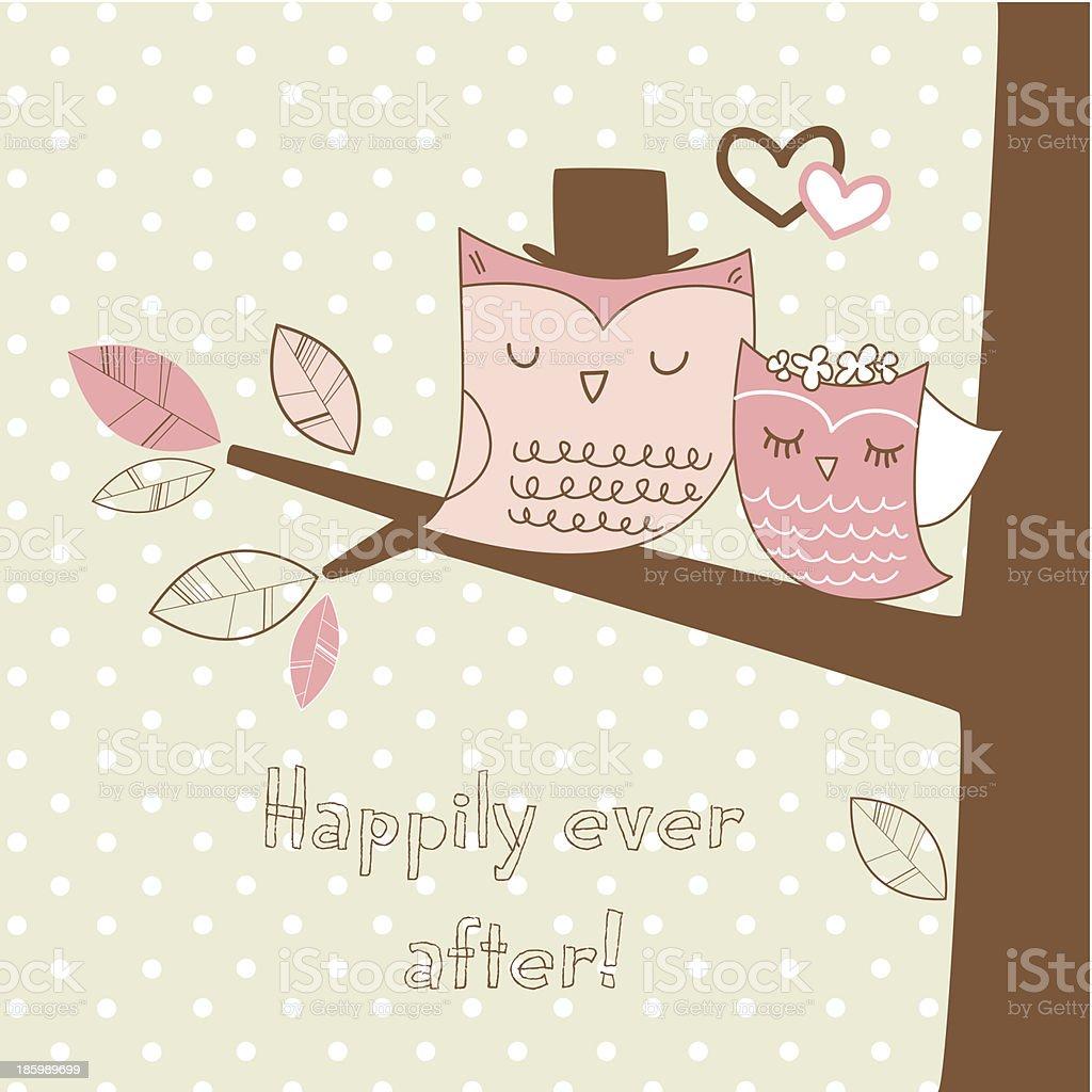2 つのかわいいフクロウの木の枝ロマンティックな結婚式のカード の