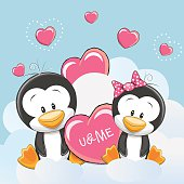 Valentine card with Cute Cartoon Lovers Penguins