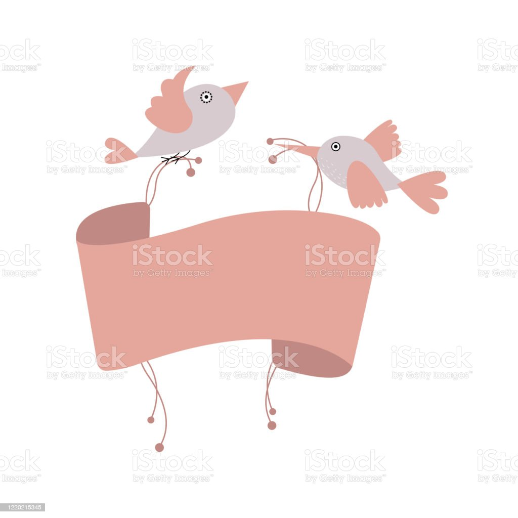 Two Cute Pink Birds Holding Scroll Banner Blank Banner Mockup Template Stock Illustration Download Image Now Istock