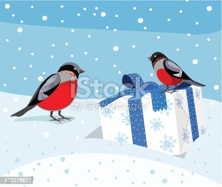 istock Two Cute Robbins And Gift Box 472278677
