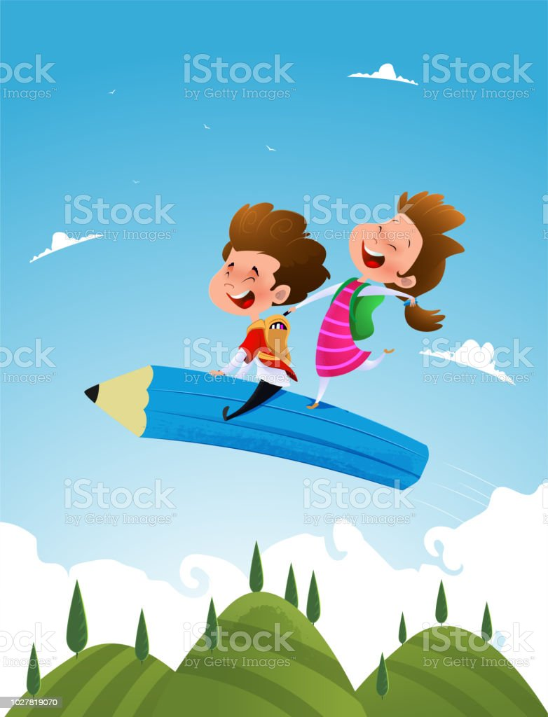 Two cute school children fly sitting on a pencil. vector art illustration