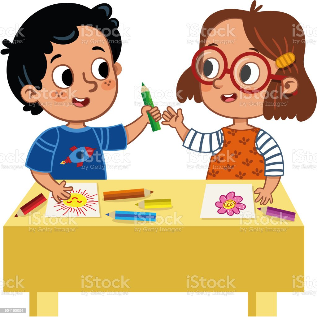 Two Cute School Children Sharing Colored Pencils Stock Illustration Download Image Now Istock