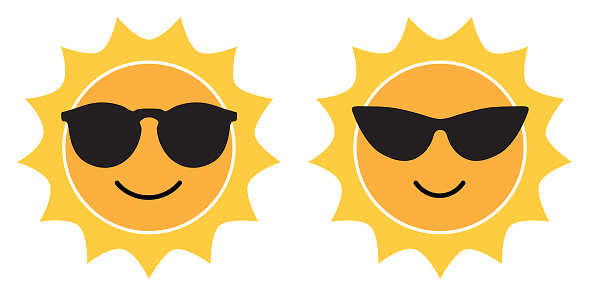 Two Cute Sun Faces With Sunglasses