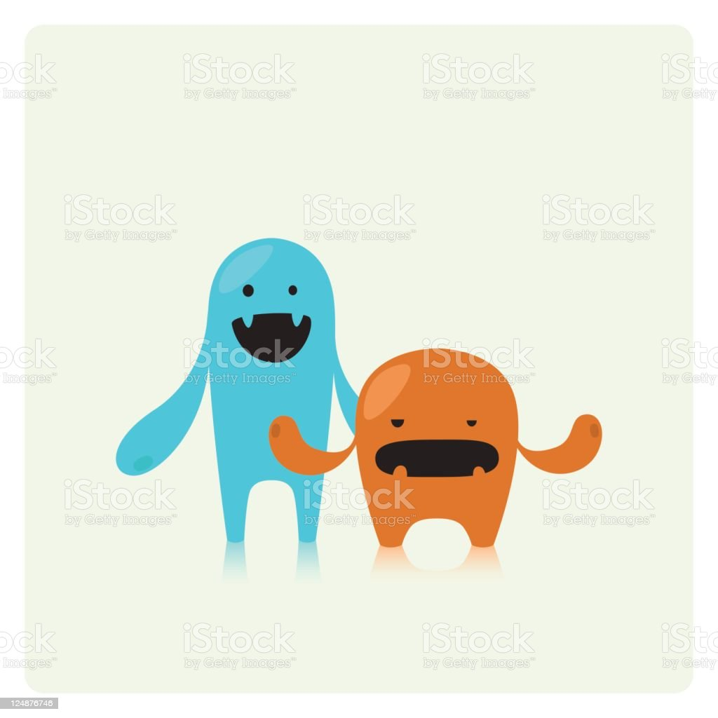 Two Cute Vector Monster Friends Stock Illustration Download Image Now Istock