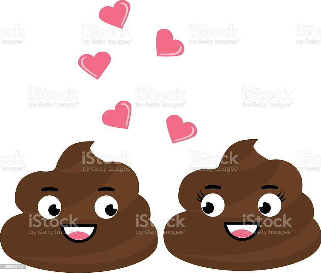 Two cute vector poop fall in love,  flirting royalty-free two cute vector poop fall in love flirting stock vector art & more images of animal dung