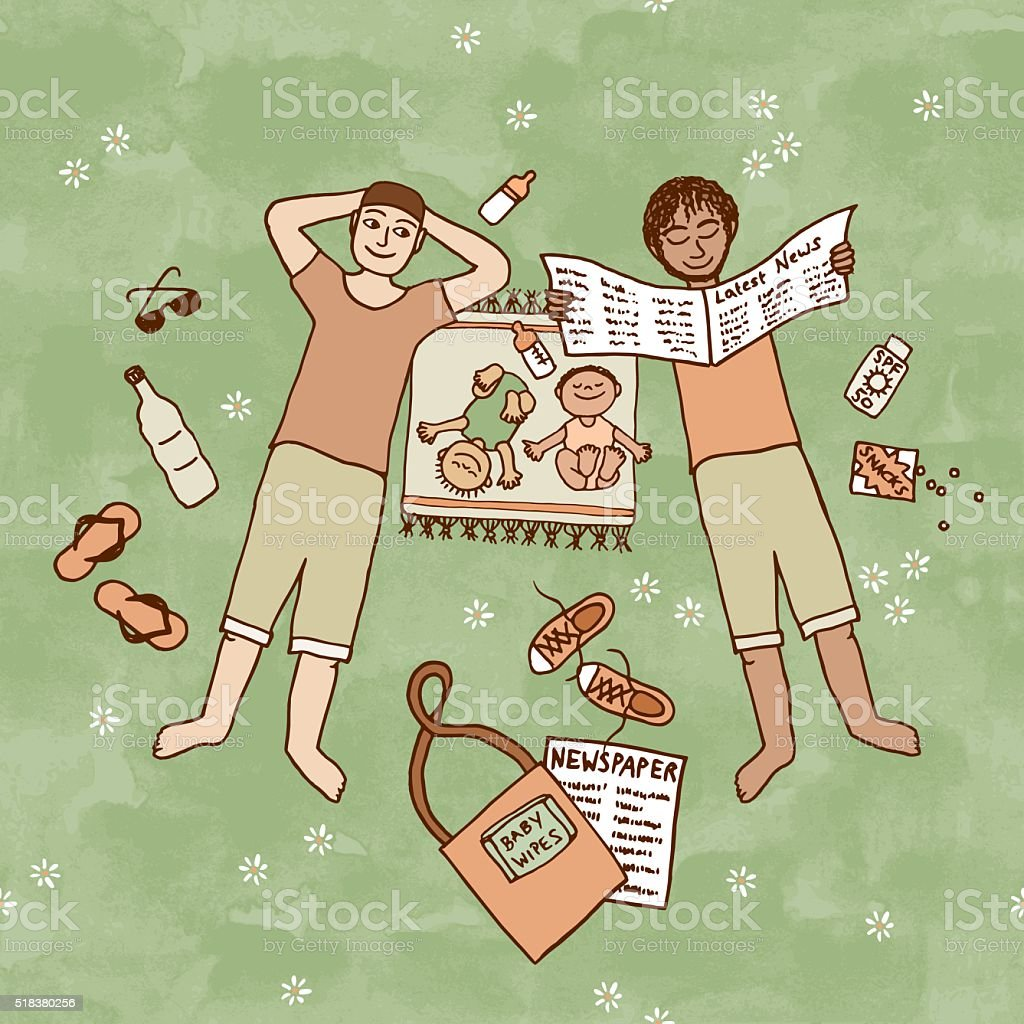 Two dads lying in the park with their little babies vector art illustration
