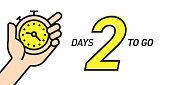 Two Days Left Countdown Vector Illustration Template