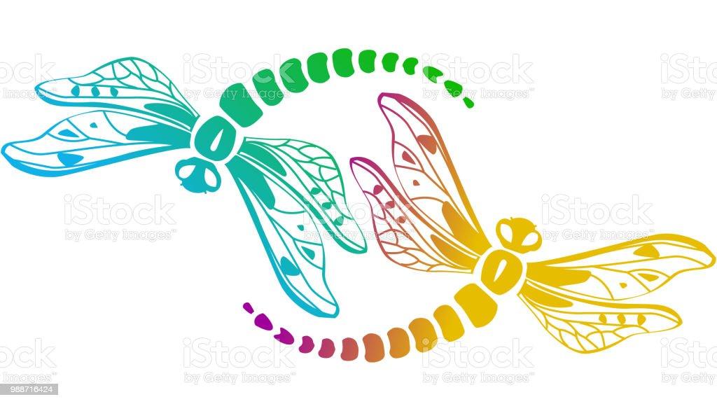 Zwei Dekorative Libellen Stock Vektor Art Und Mehr Bilder Von