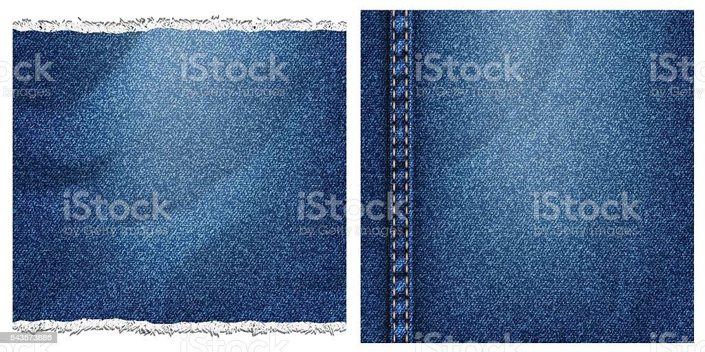 Two denim backgrounds vector art illustration