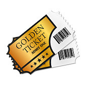 Two designed retro Golden Tickets close up top view isolated on white background. Vector illustration.