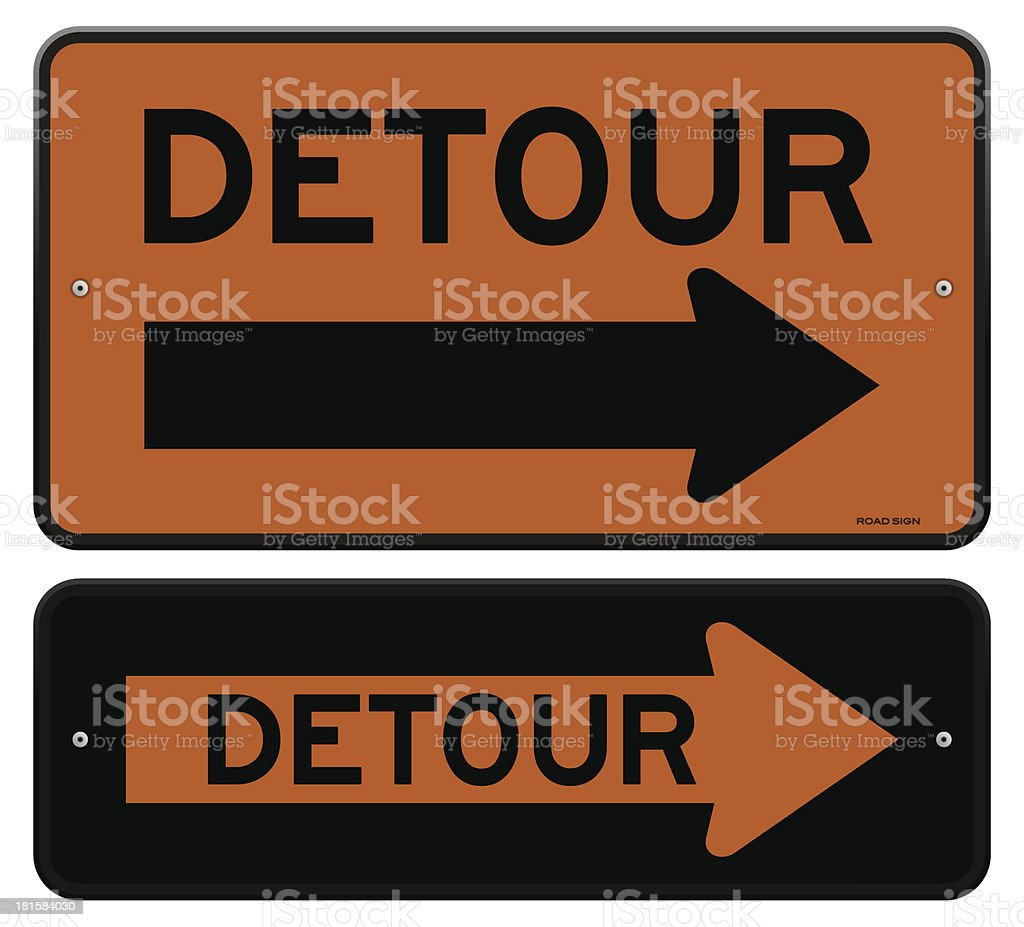Two detour signs with arrows pointing to the right royalty-free stock vector art
