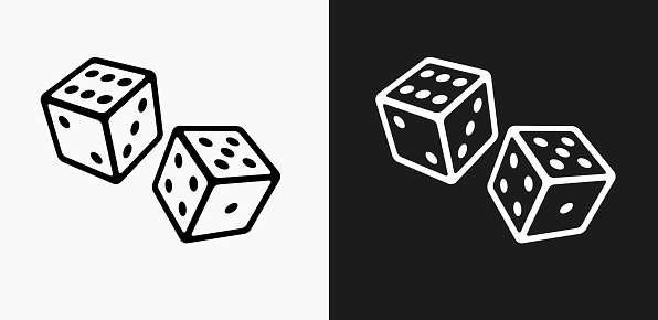 Two Dice Icon on Black and White Vector Backgrounds. This vector illustration includes two variations of the icon one in black on a light background on the left and another version in white on a dark background positioned on the right. The vector icon is simple yet elegant and can be used in a variety of ways including website or mobile application icon. This royalty free image is 100% vector based and all design elements can be scaled to any size.