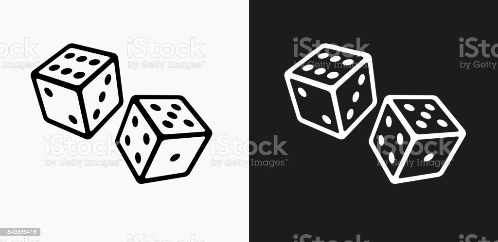 Two Dice Icon on Black and White Vector Backgrounds vector art illustration