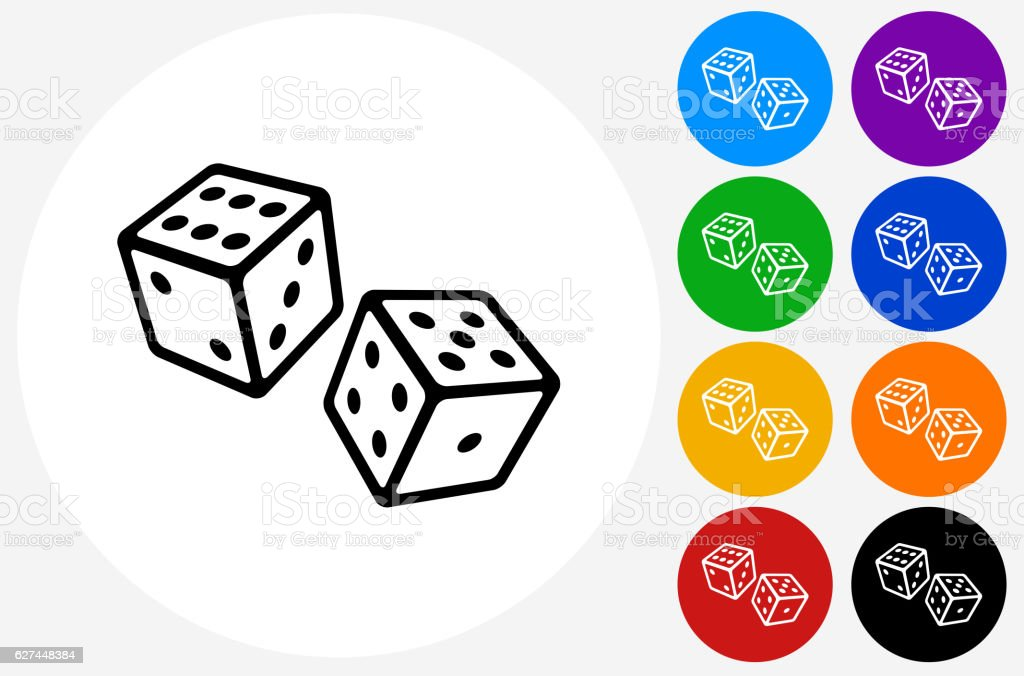 Two Dice Icon on Flat Color Circle Buttons vector art illustration
