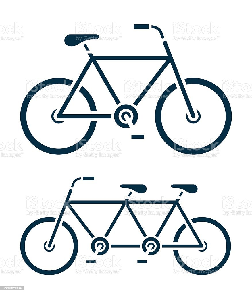 Two Different Bicycle Icons One A Tandem Bike Stock Vector Art