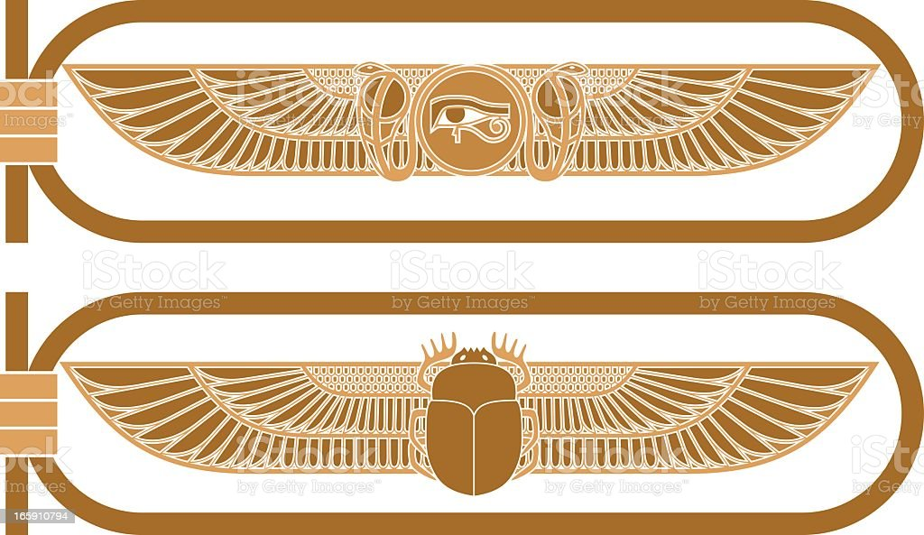 Two different bronze Egyptian icons vector art illustration