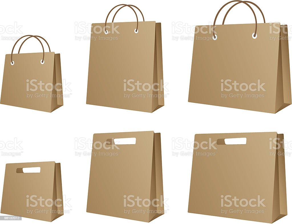 Two different paper bags of various sizes royalty-free stock vector art