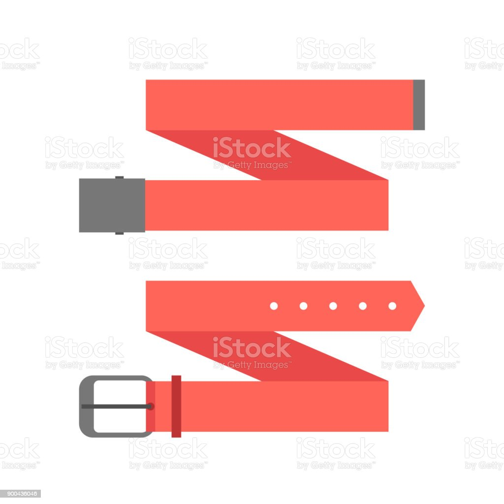 two different red belt vector art illustration