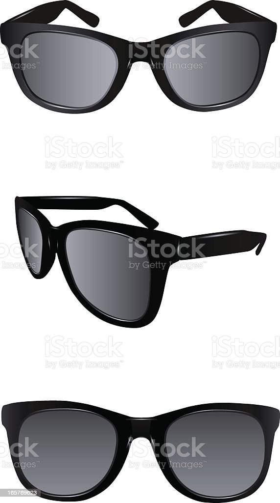 Two different views of black sunglasses vector art illustration