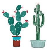 Watercolor cacti set, succulents, home flowers, houseplants in pots isolated on white background - vector artwork