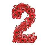 Twee cijfers gemaakt van rode klaprozen-bloemen. Floral element van kleurrijke alfabet gemaakt van bloemen.  illustratie