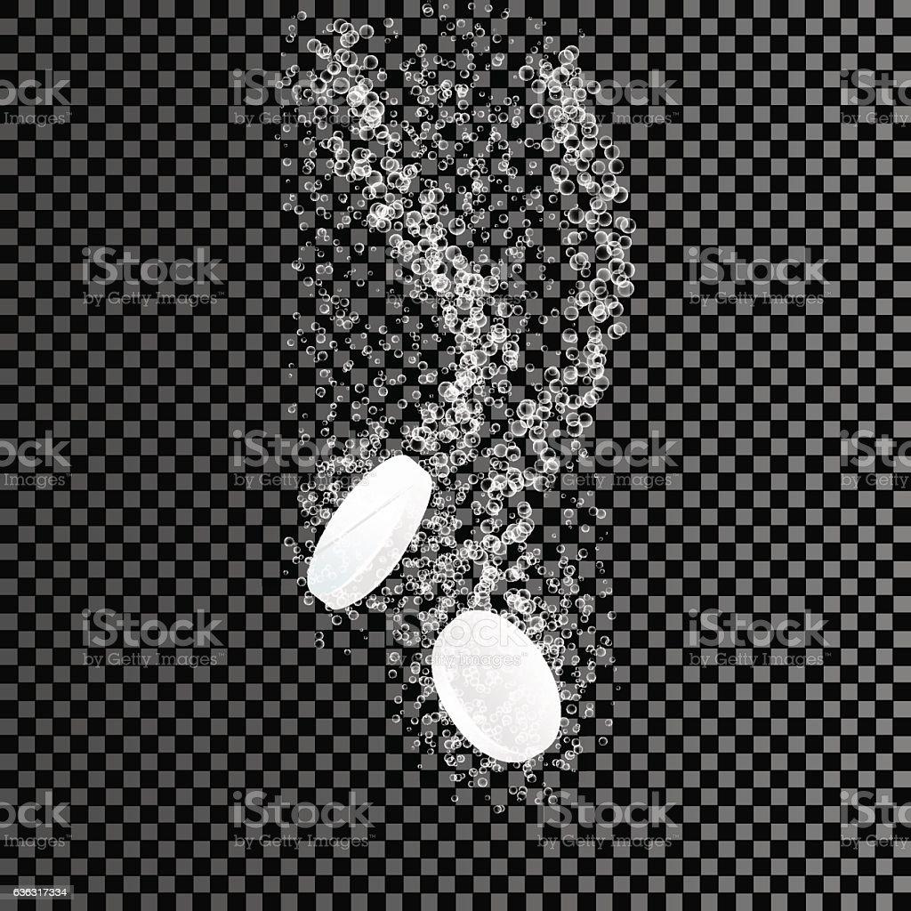 Two dissolving tablets. Soluble pill on transparent background. Effervescent tablet vector art illustration