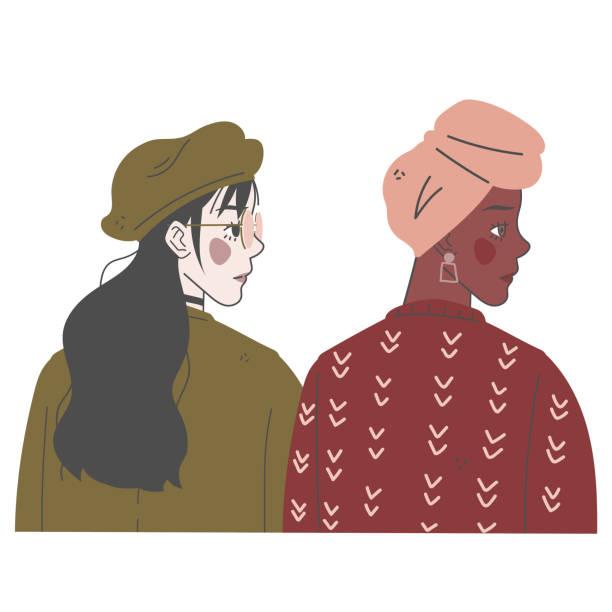 illustrazioni stock, clip art, cartoni animati e icone di tendenza di two diverse women portrait. - two students together asian