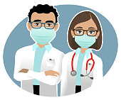 Two doctors portrait, man and woman wearing surgical mask on a blue background.