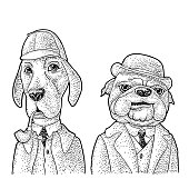 Two dogs in Sherlock Holmes and Dr. Watson appearance smoking a pipe and dressed in hat, coat. Vector black engraving vintage illustrations isolated on white. Hand drawn design element for poster
