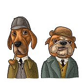 Two dogs in Sherlock Holmes and Dr. Watson appearance. Vector color engraving vintage illustrations isolated on white. Hand drawn design element for poster