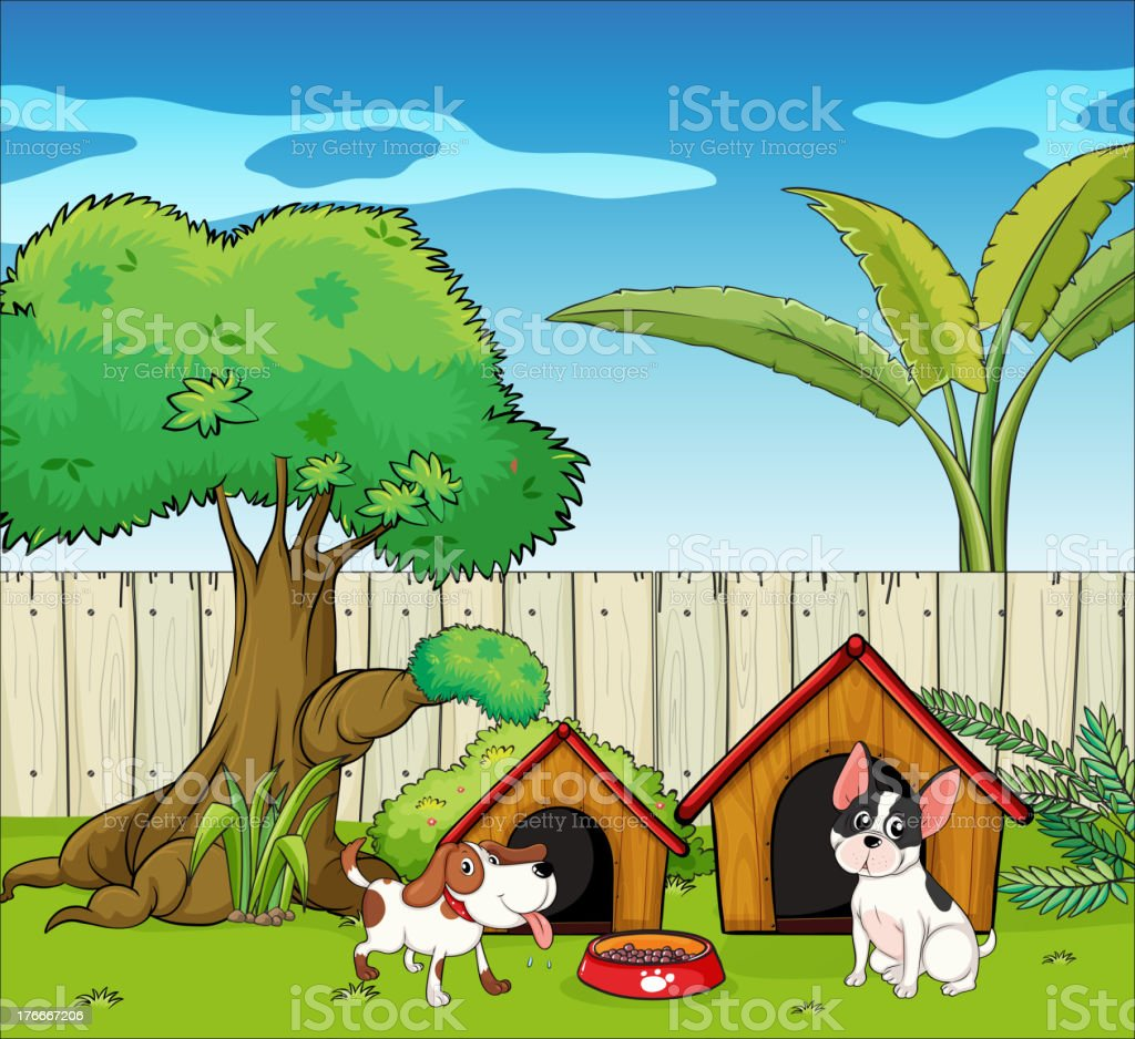 Two dogs inside the fence royalty-free two dogs inside the fence stock vector art & more images of animal