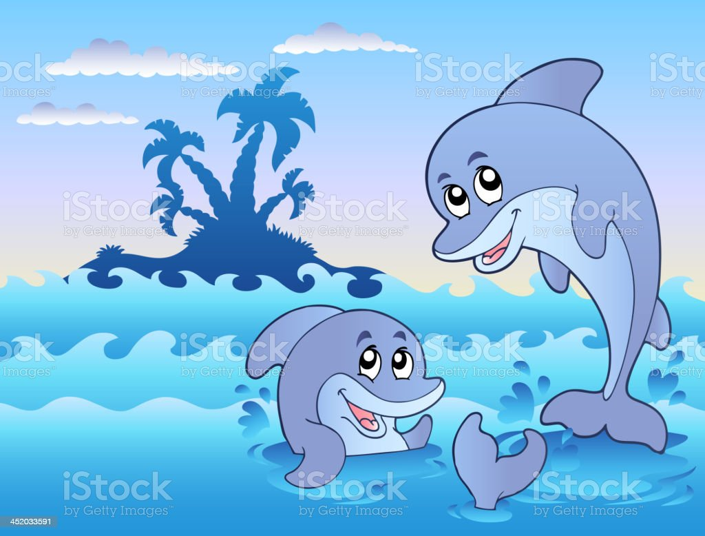 Two dolphins playing in waves royalty-free stock vector art
