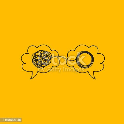 Two brains with tangled and unraveled tangles, mentor, brainstorm, problem solving. Vector doodle illustration