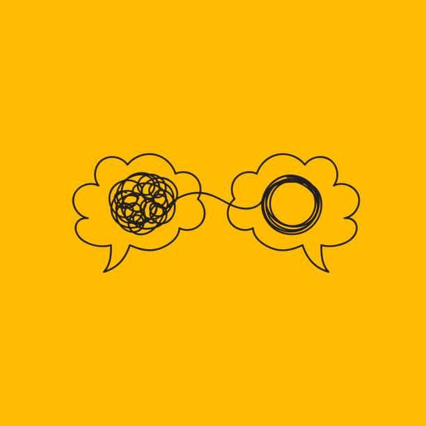 dwa doodle mózgi - umiejętność stock illustrations