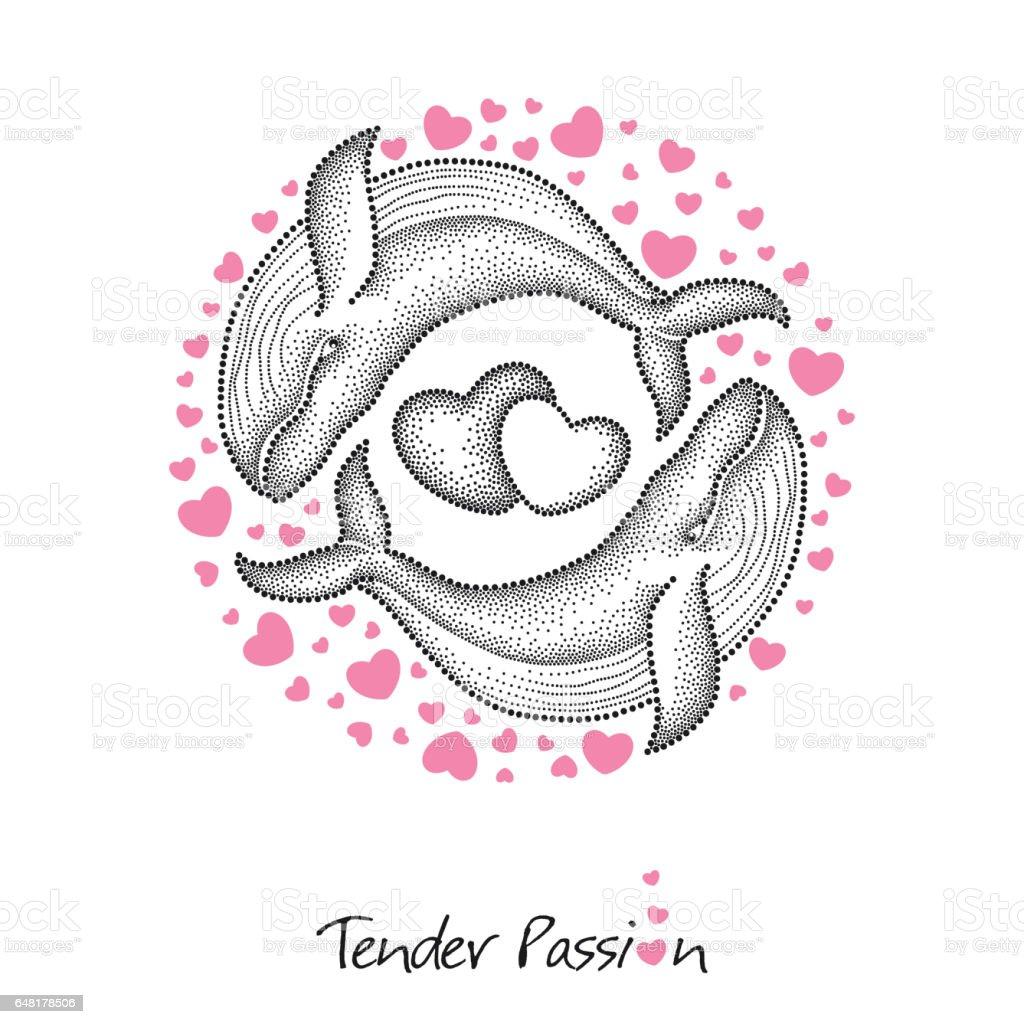 Zwei gepunktete Wal in schwarz und runder Rahmen mit rosa Herzen isoliert auf weiss. – Vektorgrafik