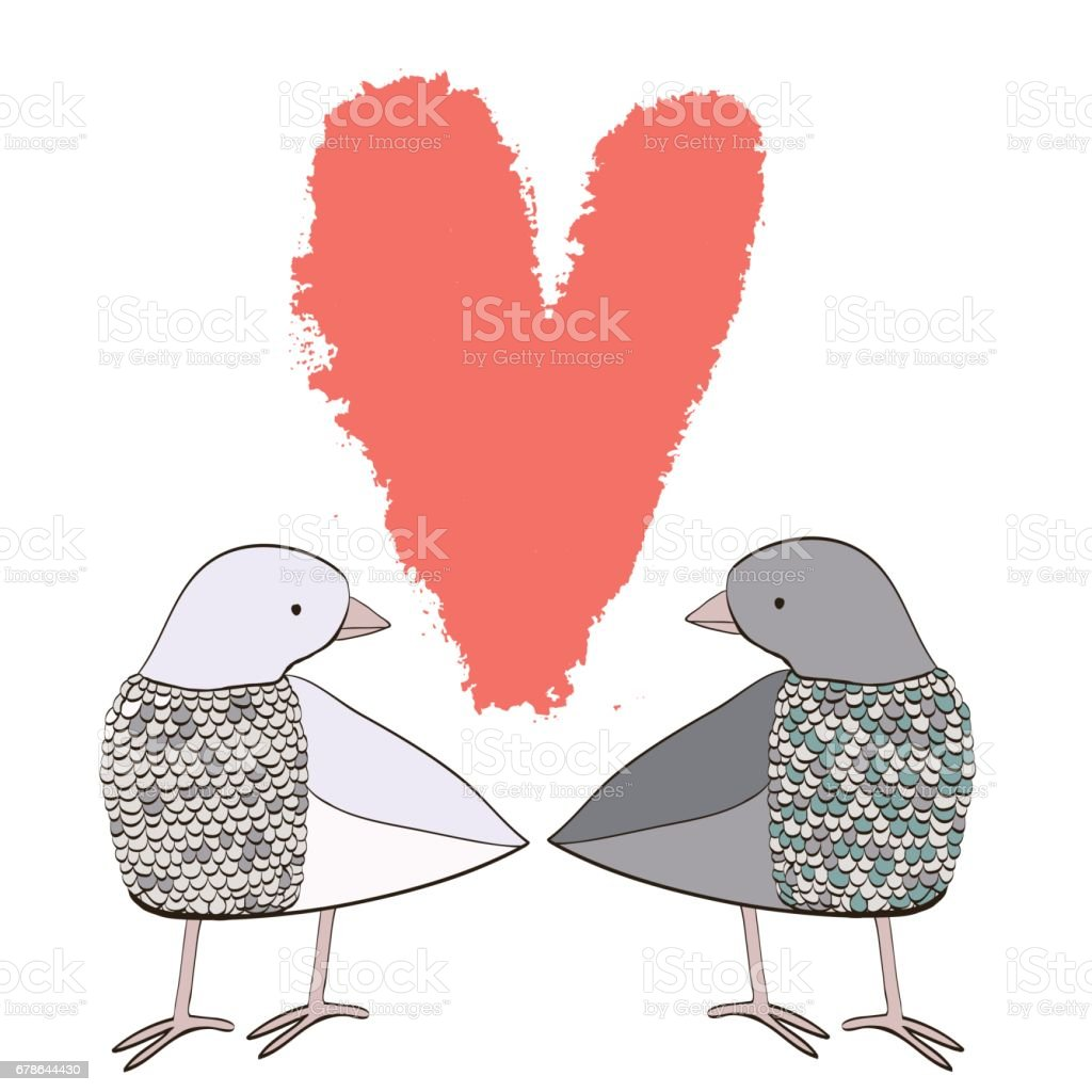Two Doves In Love Stock Vector Art & More Images of Animal 678644430 ...