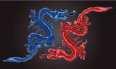 Two Fire Dragons show Chinese Dragons, drawn in several shades of red and blue, facing each other as in battle, with a ball of fire coming from their mouths.  They have sharp claws, long limber necks and bodies, and long flame shaped tails.  They also have sharp teeth.
