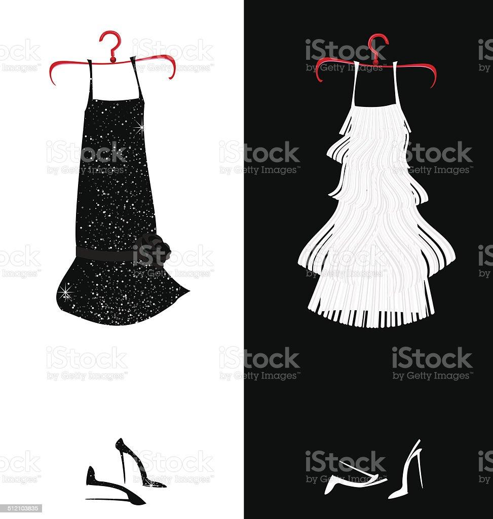 two dresses vector art illustration